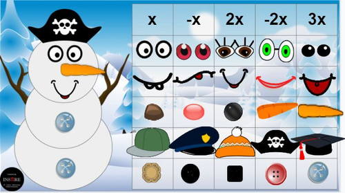 Make a snowman Integers & Algebraic Expressions DIGITAL ACTIVITY Winter EDITABLE