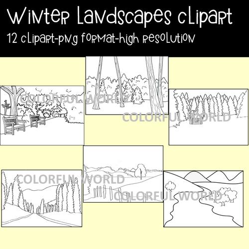 Winter landscapes clipart