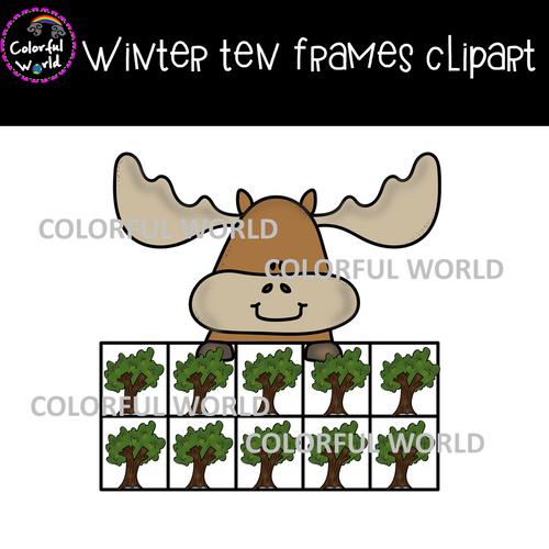 Winter ten frames clipart