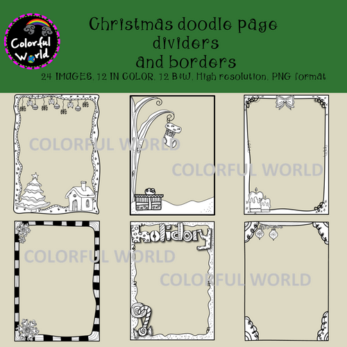 Christmas doodle page dividers and borders