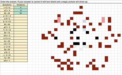 Solving One Step Equations Groundhog Pixel Art Activity