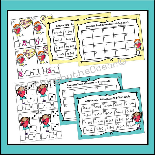 Subtraction to 10 Task Cards and NO PREP Worksheets -Valentine's