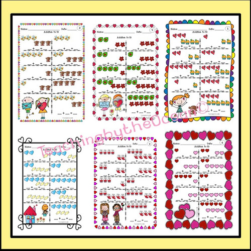 Addition and Subtraction to 10 Task Cards and NO PREP Worksheets -Valentine's