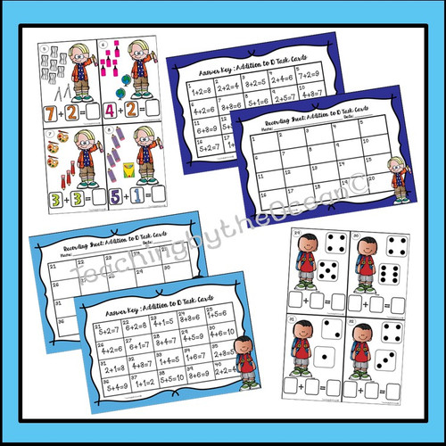 Addition to 10 Task Cards and NO PREP Worksheets - Back to School