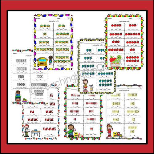 Subtraction to 10 Task Cards and NO PREP Worksheets - Back to School
