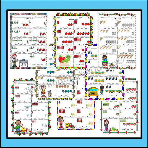Addition and Subtraction to 10 Task Cards and NO PREP Worksheets Back to School