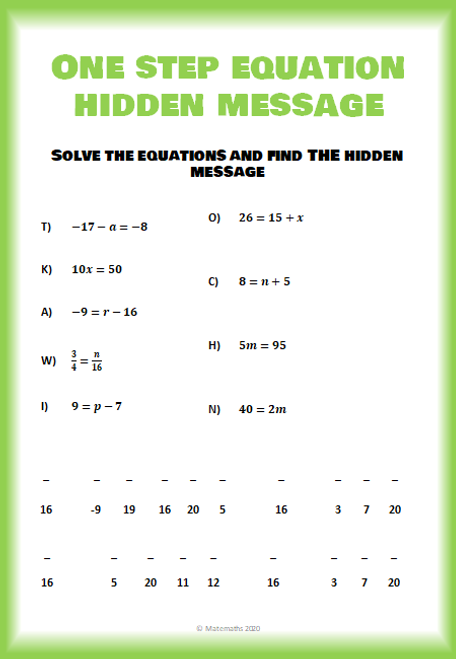 Math One Step Equations Activity Worksheet