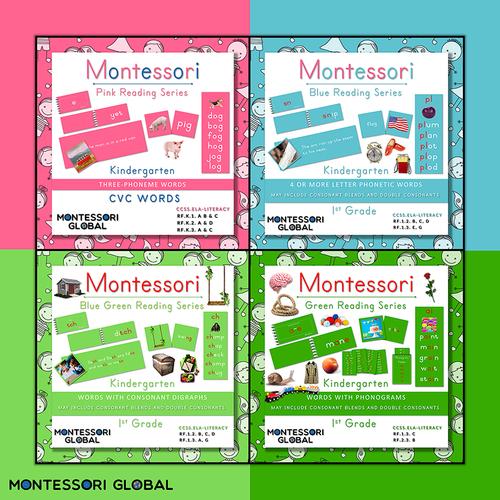 Montessori Printable Pink -Blue-Blue Green - Green Phonics Reading Series