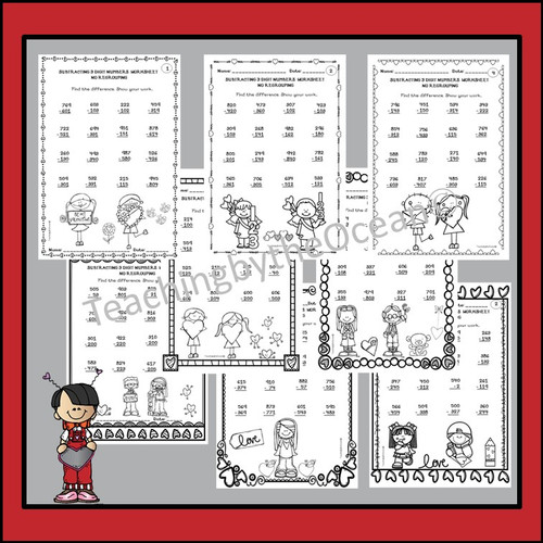 Subtracting 3 Digit Numbers Worksheets - Valentine's day Themed