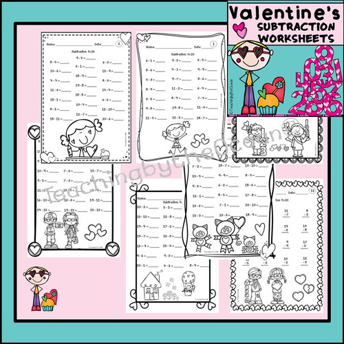 Addition and Subtraction to 20 Fact Fluency Worksheets - Valentine's Day