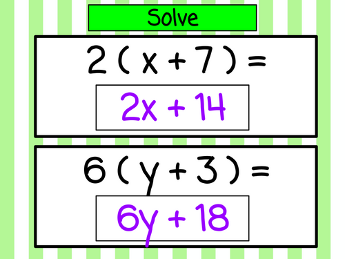 Distributive Property Lesson - with variables - Digital