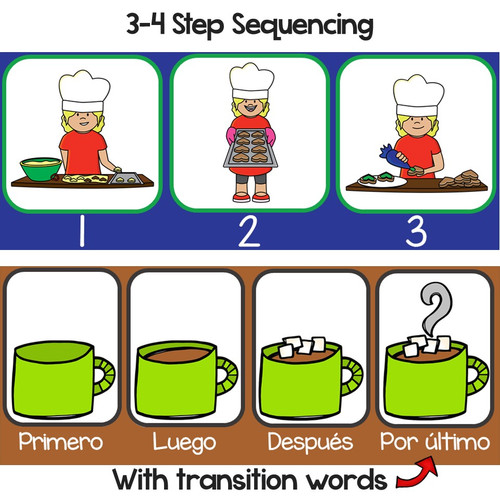 3-4 Step Winter Sequencing in Spanish-Secuencias con dibujos (Invierno)