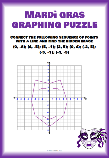 Mardi Gras Coordinate Plan Graphing Puzzle