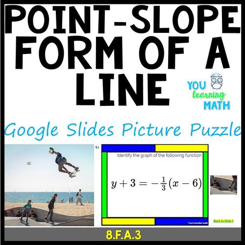 Point-Slope Form of a Line: Google Slides Picture Puzzle - 20 Problems