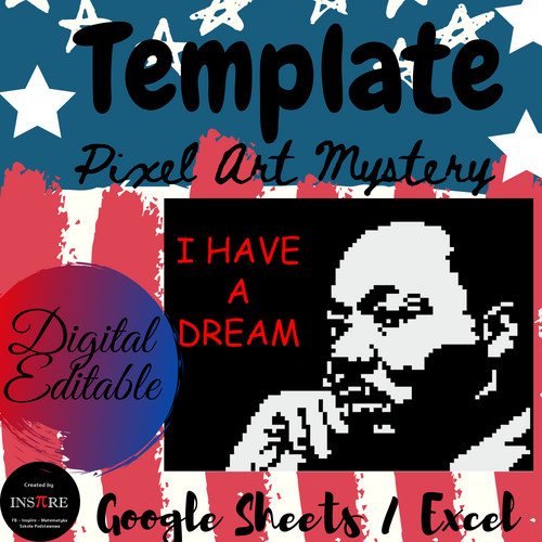Martin Luther King Jr. Pixel Art Mystery Picture Template DIGITAL EDITABLE