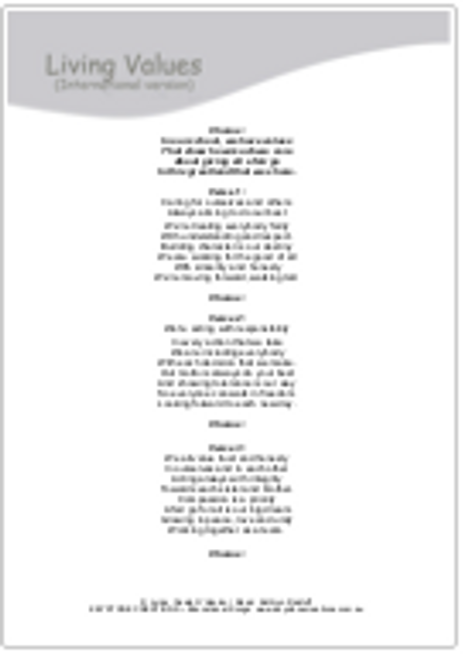 'LIVING VALUES' (Grades K-12) ~ Lyric Sheet Package: FREE (Limited Time)
