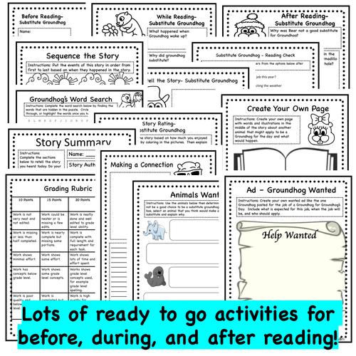 Substitute Groundhog - Groundhog's Day Read Aloud Activity Pack - Printable PDF Version