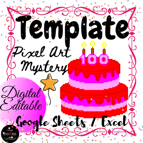 100th Day of School - Cake - Pixel Art Mystery Picture Template DIGITAL EDITABLE