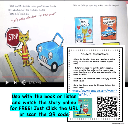 Pete the Cat Valetine's Day is Cool - Read Aloud Activity Pack - Digital Google Version