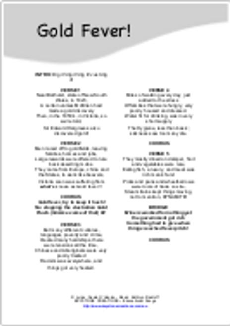 'GOLD FEVER!' (Grades 3-7) ~Curriculum Song MP3 & Lyrics PDF