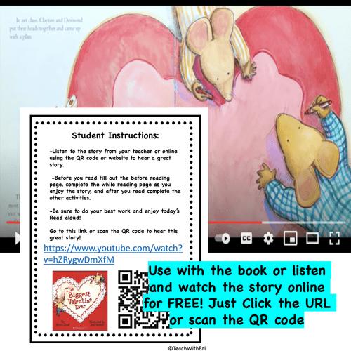 The Biggest Valentine Ever- Read Aloud Activity Pack - PDF Printable Version