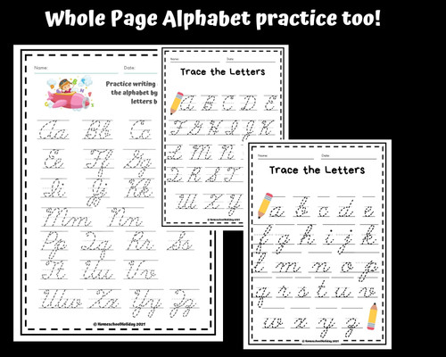 Cursive Alphabet Tracing Worksheets Capital & Lowercase