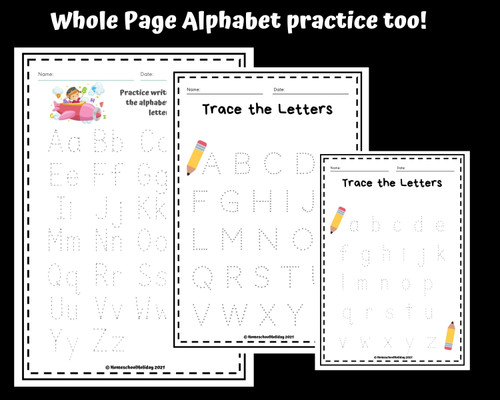 Manuscript Alphabet Tracing Worksheets Capital & Lowercase