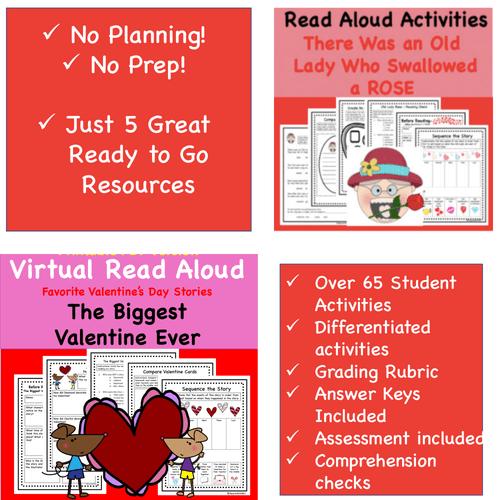 Digital Version: Discount Bundle-  Valentine Read-A-Loud Activity Packs - 5 Great Stories! Buy 3 Get 2 FREE!