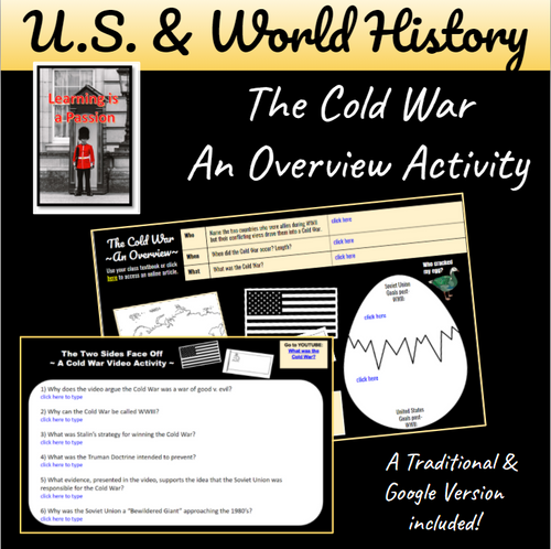 The Cold War | An Introductory Student Activity | Distance Learning