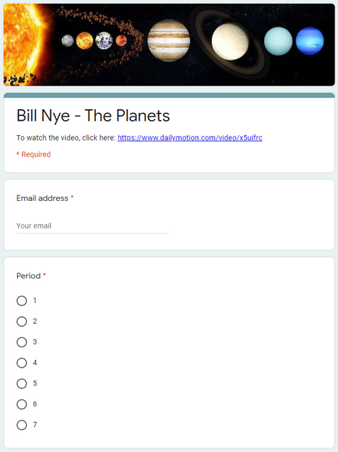 Bill Nye - The Planets and Moons - Great Sub Plans or Distance Learning!