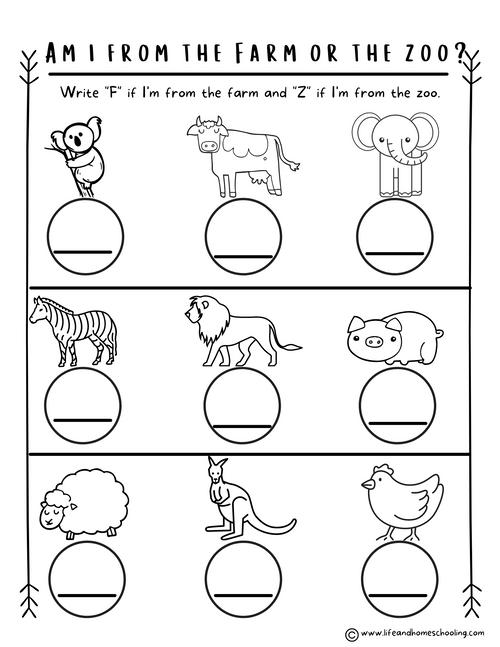 Preschool-Kindergarten Animal Worksheets