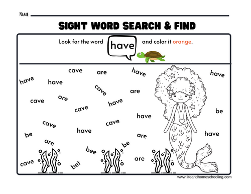 Sight Word Search and Find Activity Pages