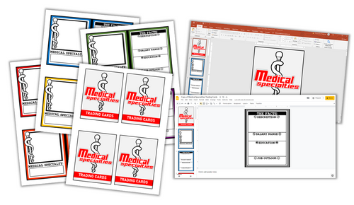 Medical Specialties Trading Card Templates- Printable and Electronic Options!