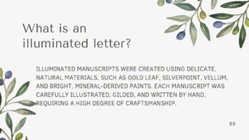 Illuminated Manuscript Art lesson Grades 6-12 requiring minimal materials