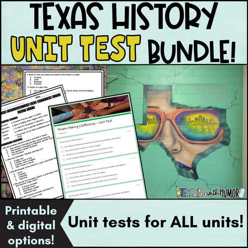 Texas History UNIT TEST BUNDLE
