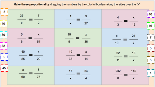 A Digital Activity on Solving Proportions (Drag and Sort)