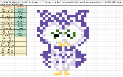 Factoring Binomials Pixel Art Activity