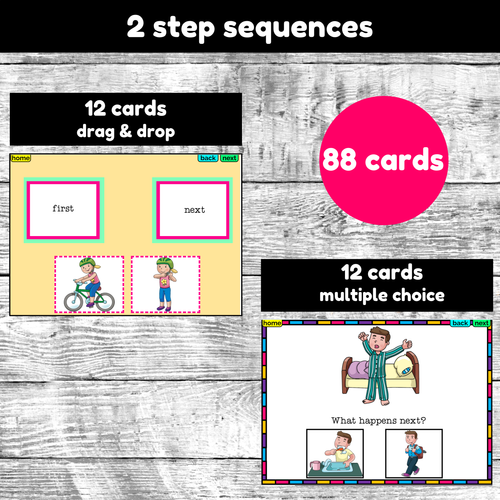 Sequencing Activity Boom Cards 2-6 steps digital resource