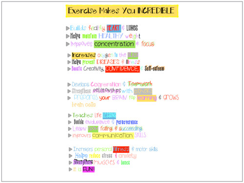PE Posters: Exercise Makes You Incredible -Benefits of PE & Sport