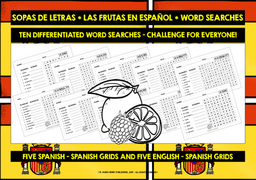 SPANISH FRUITS WORD SEARCHES