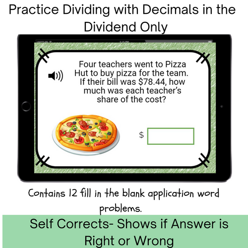 Decimals in Dividend Division Distance Learning Word Problems Digital Boom Cards