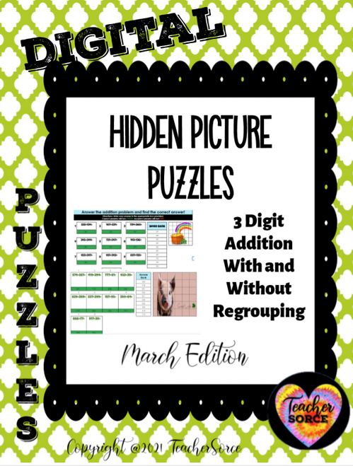 3 digit Addition with and without regrouping Hidden Mystery Picture Puzzle March