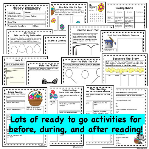 Pete the Cat Big Easter Adventure - Spring  Read Aloud Activity Pack  (Digital Ready Version)