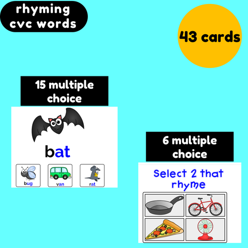 Rhyming CVC Words Boom Cards