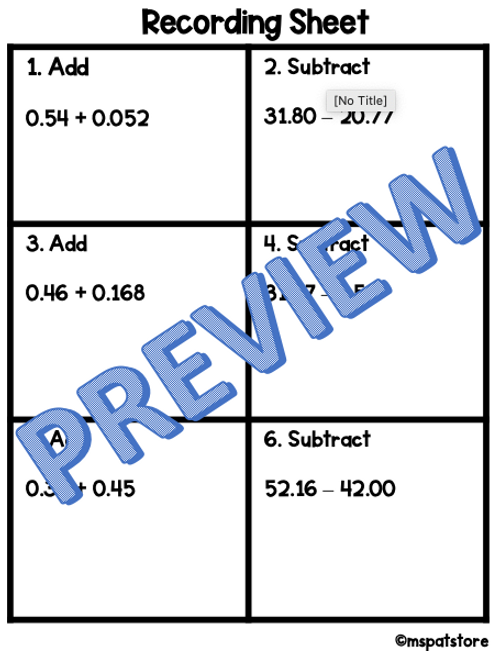 Black History Month Math Activity: Adding & Subtracting Decimals