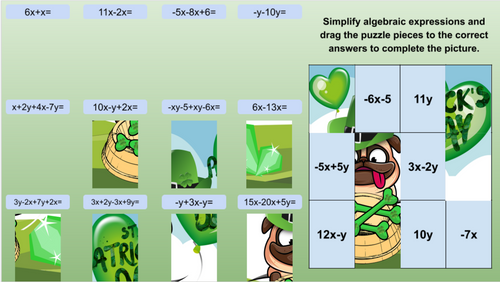 St. Patrick's Day Math Puzzles - Simplifying Algebraic Expressions EDITABLE