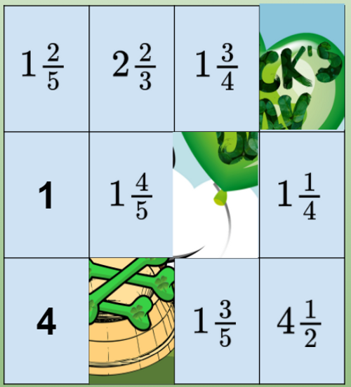 Puzzles St. Patricks Day 4th Grade Fractions Mixed Numbers Add Subtract Multiply