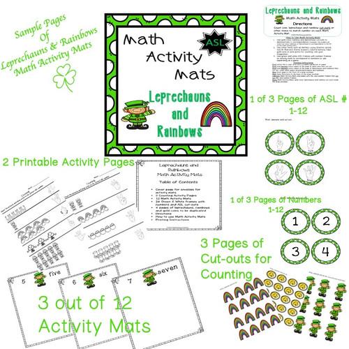 Special Education ASL Leprechauns and Rainbows Math Activity Mats