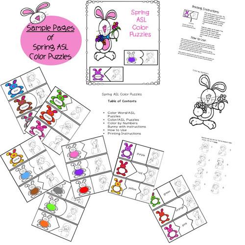 Special Education Spring ASL Color Puzzles