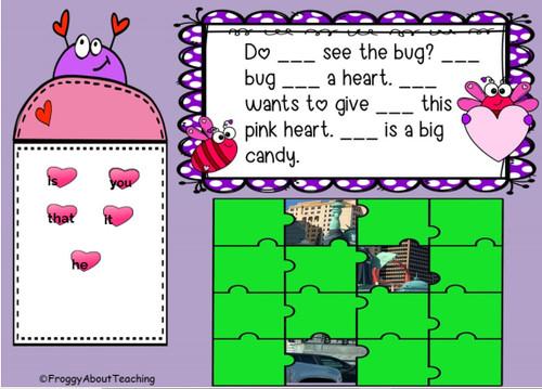 Valentine Passages Missing Sight Words Google Slides